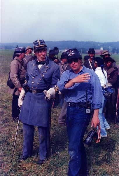 Ron Maxwell with Ted Turner during the Gettysburg production